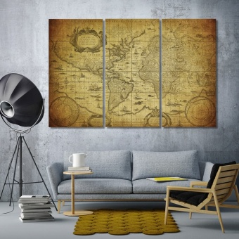 Vintage world map artistic prints on canvas, world map art wall