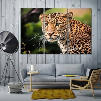 Javan leopard contemporary wall art decor, big cat wall art pictures