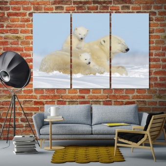 Polar bear mother and cub large contemporary wall art