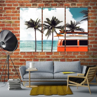 Palm trees artwork for home, surfing canvas art prints