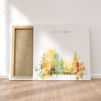 Hartford wall art ideas for bedroom, Connecticut watercolor drawing
