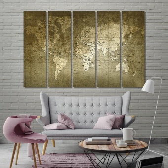 Old world map living room wall decor ideas, map canvas prints art