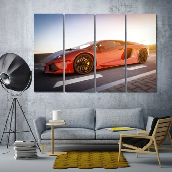 Red car wall art office, sport car modern art wall decor