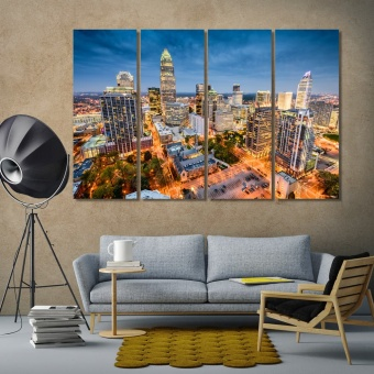 Charlotte wall decor for home, North Carolina print canvas art