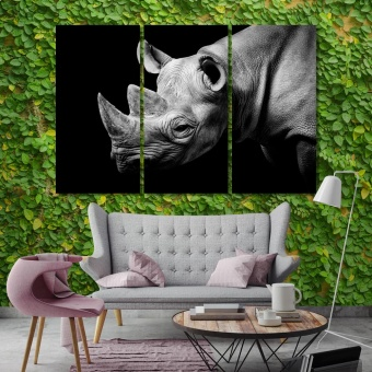 Rhino home interior wall decor, big wild animal canvas prints art