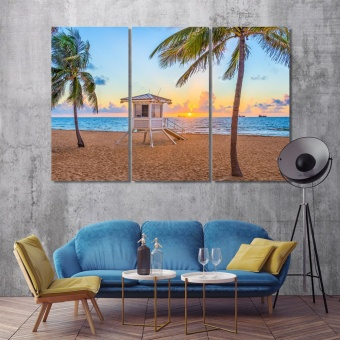 Beach in Fort Lauderdale print canvas art, Florida art room decor