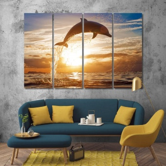 Jumping dolphin artistic prints on canvas, sunset sea modern artwork