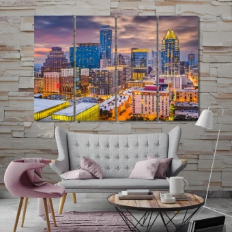 Austin artistic prints on canvas, Texas cool office wall art