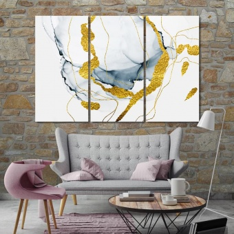 Gold abstract marble wall art canvas prints, marble abstract artwork