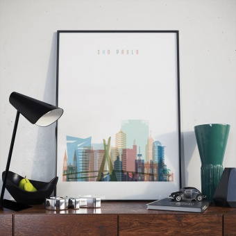 Sao Paulo wall decor poster, Brazil dining room wall decorations