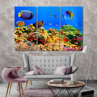 Undersea world artistic prints on canvas, sea fish and corals artwork