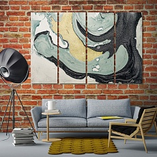 Grey and gold abstract large contemporary wall art