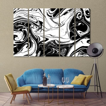 Black & white abstract canvas wall art contemporary