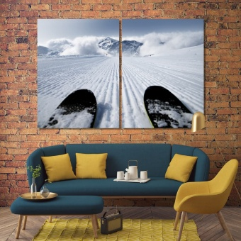 To ski large wall decorating ideas, winter sport print canvas art
