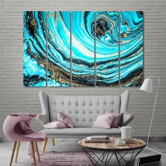 Blue abstract art decorations for living room walls