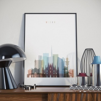 Milan living room poster, Italy wall painting art