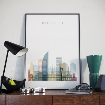 Montevideo home decor print, Uruguay modern artwork