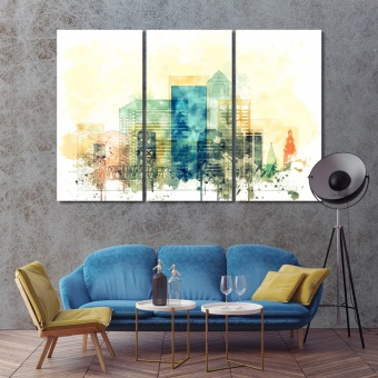 Jacksonville watercolor drawing, Florida contemporary wall decor