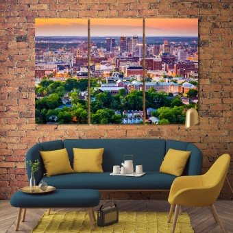 Birmingham canvas art large wall, Alabama art for living room