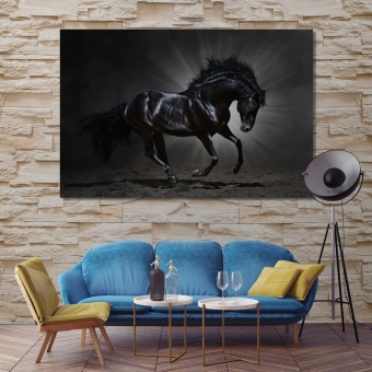 Black Horse animal wall decor, horse art printing on canvas