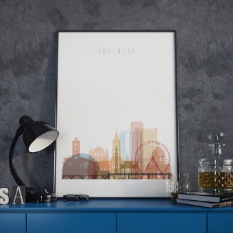 Toulouse cityscape art print, France wall paintings for dining room