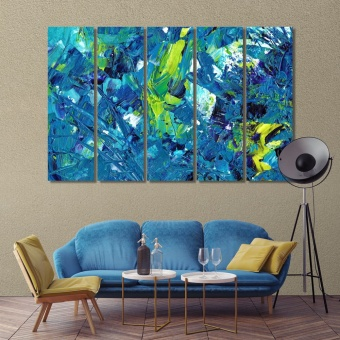 Blue abstract wall art decor, canvas strokes modern wall decorations