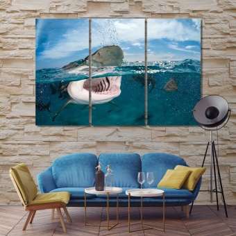 Sharks living room wall decor pictures, predatory fish wall arts