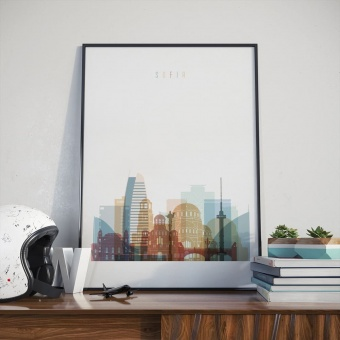 Sofia cityscape art print, Bulgaria decor ideas for living room wall