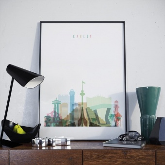 Cancun skyline print, Mexico home decor wall art