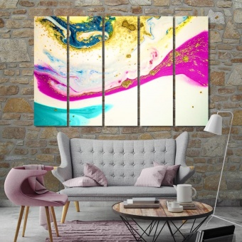 Abstract artistic prints on canvas, paint spots beautiful wall art