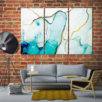 Turquoise abstract artistic prints on canvas, office wall decor