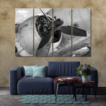 Old airplane engine with a propeller wall decor and home accents
