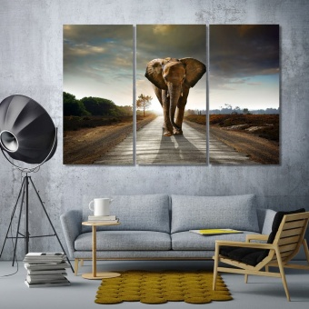 Elephant artwork for office, wild animal modern wall decorations