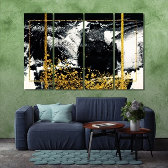 Black and gold abstract painting wall art, modern wall pictures