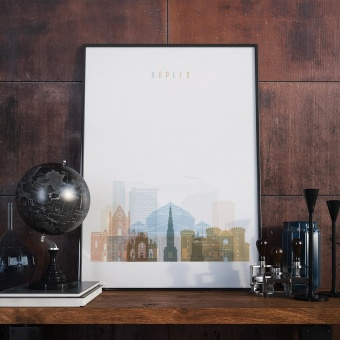 Naples cityscape art print, ‎Italy decorate wall with pictures