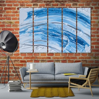 Blue and white oil paint brush strokes wall art decor ideas