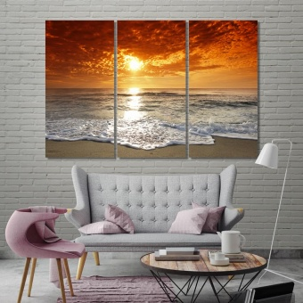 Sunset on the beach large wall decorating ideas, seascape wall art