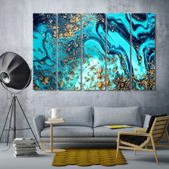 Aquamarine with gold abstract art wall decor and home accents