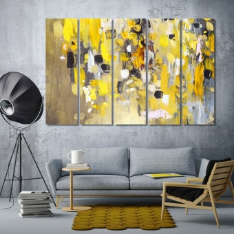 Abstract painting room wall decor, yellow colors art on wall