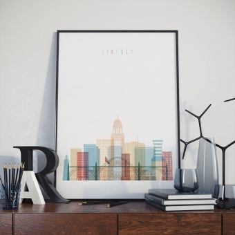 Lincoln home decor print, Nebraska living room prints