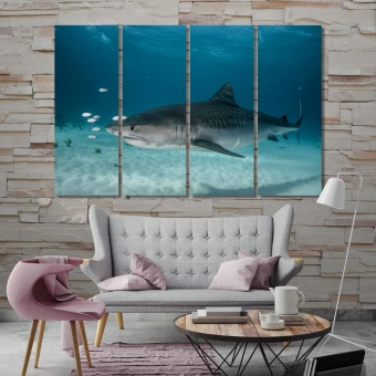 Tiger shark underwater wall decorations living room