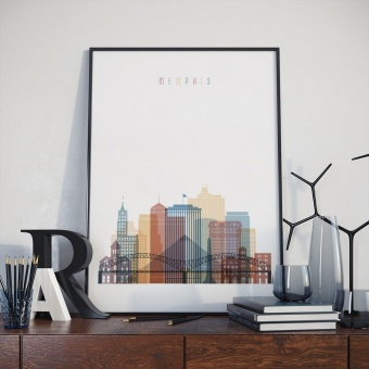 Memphis skyline print, Tennessee artwork for offices