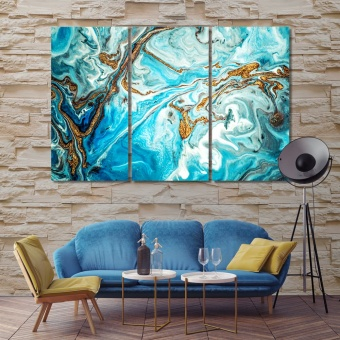 Golden and turquoise acrylic paints abstract decor for large walls