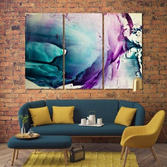 Watercolor abstract wall painting art, streaks of paint art room decor