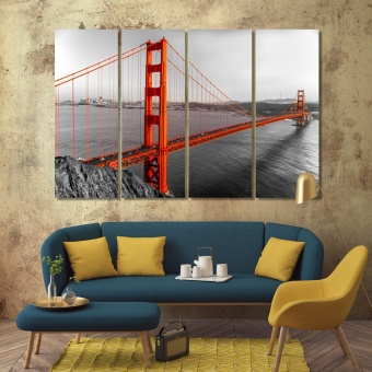 Golden Gate wall art office, San Francisco bridge print canvas art