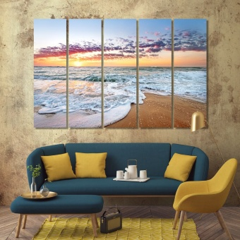 Colorful ocean wall art frame, beach sunrise wall decorating