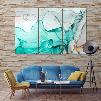 Turquoise marble abstract art pictures for living room decor