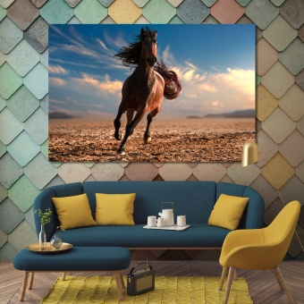 Brown horse large contemporary wall art, animals print canvas art