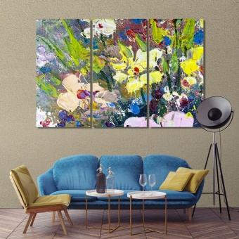 Oil flowers abstract art prints on canvas, modern abstract room art