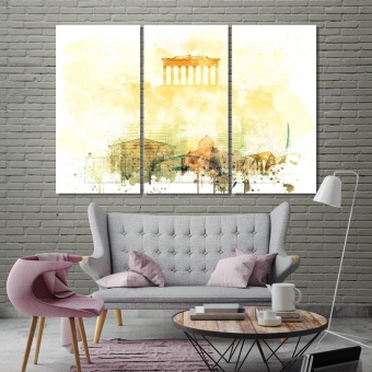 Athens wall art for dining room, Greece print canvas art